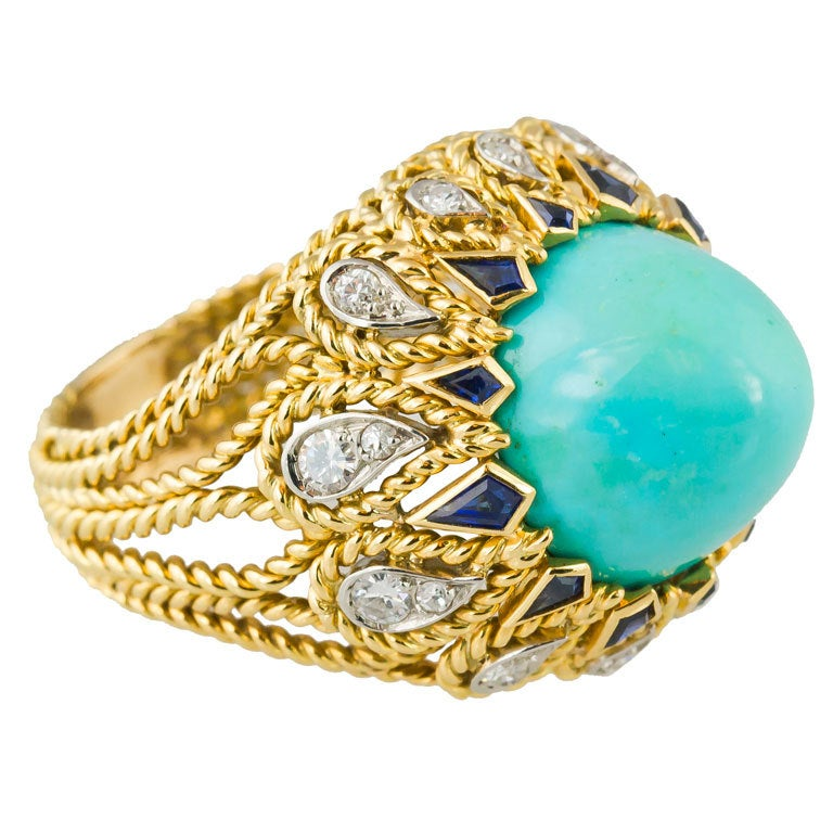 sterle turquoise sapphire gold ring for sale