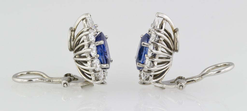 Sapphire Diamond Platinum Earrings 2