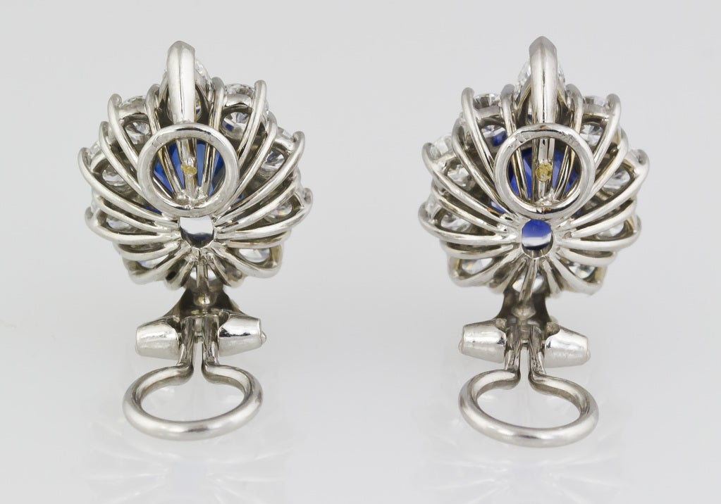 Sapphire Diamond Platinum Earrings 3