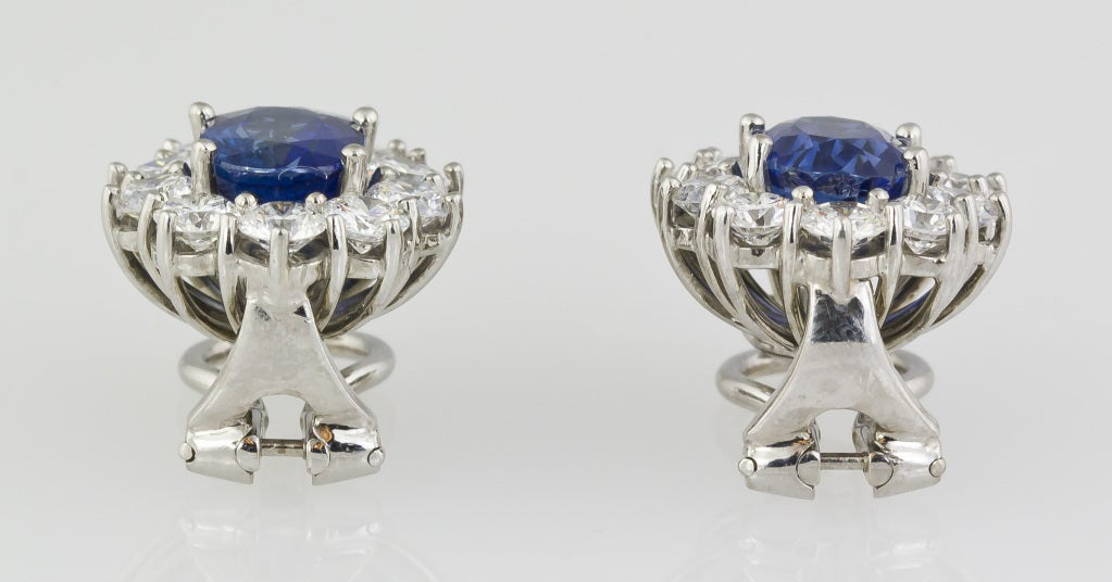Sapphire Diamond Platinum Earrings 4