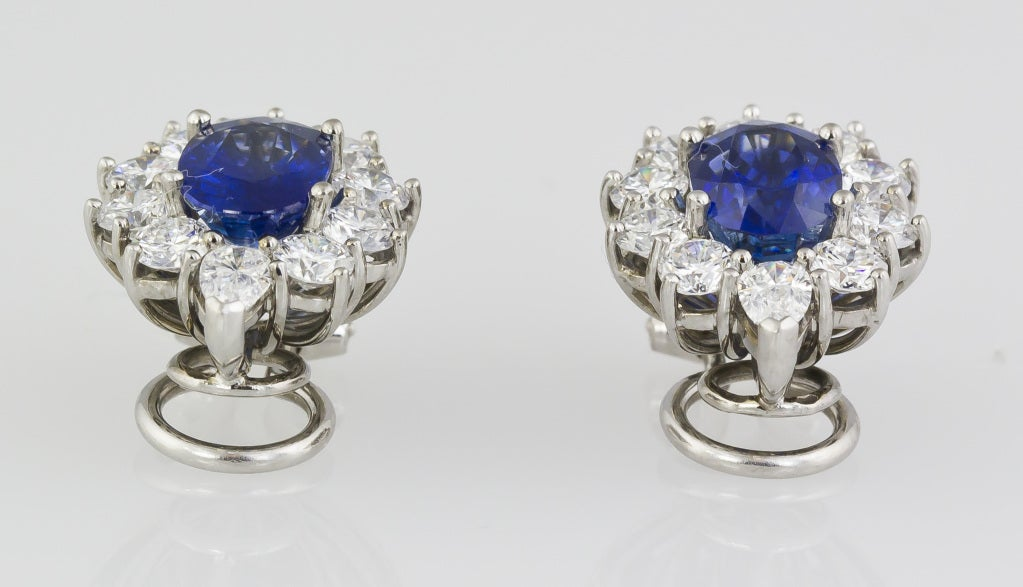 Sapphire Diamond Platinum Earrings 5
