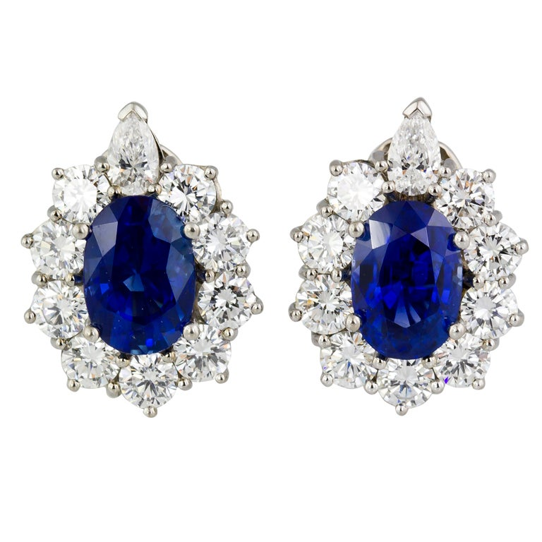 Sapphire Diamond Platinum Earrings 1