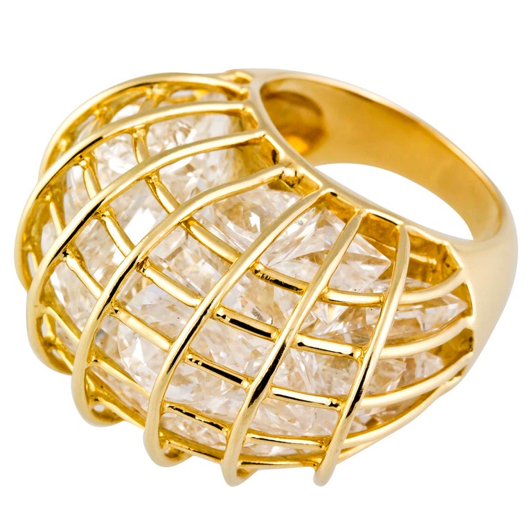 Verdura Rock Crystal And Gold Caged Ring At 1stdibs. Child Earrings. Princess Cut Diamond Bands. Quality Sapphire. Diamond Ring And Band