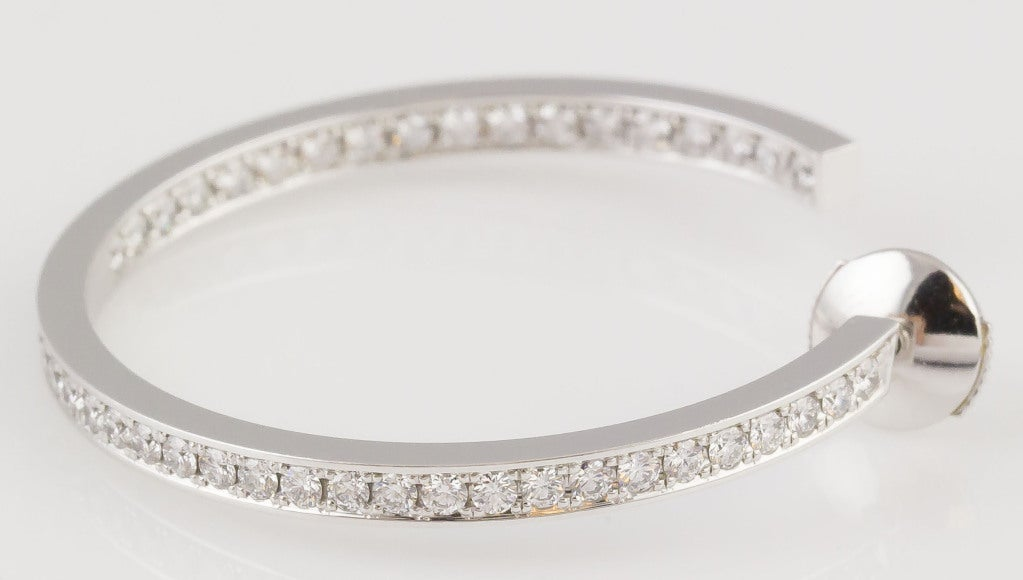 Contemporary Cartier Diamond White Gold Hoop Earrings For Sale