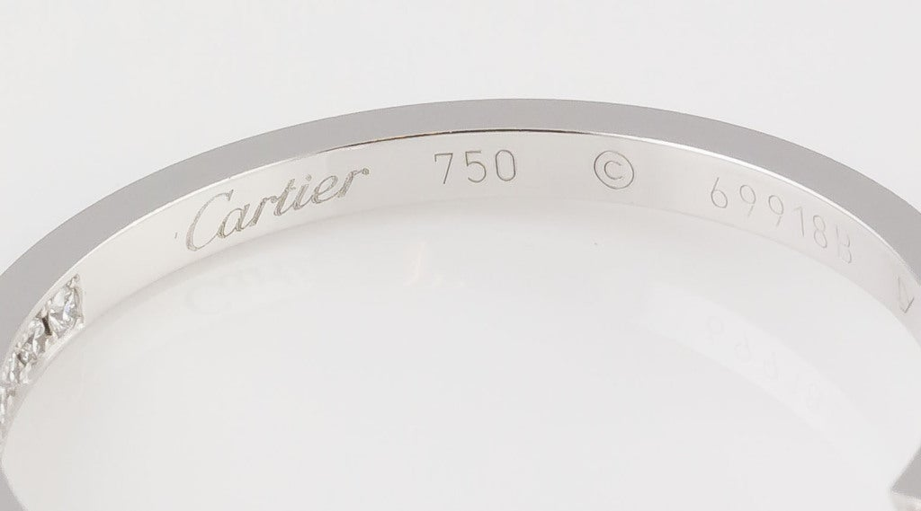 Cartier Diamond White Gold Hoop Earrings In Excellent Condition For Sale In New York, NY