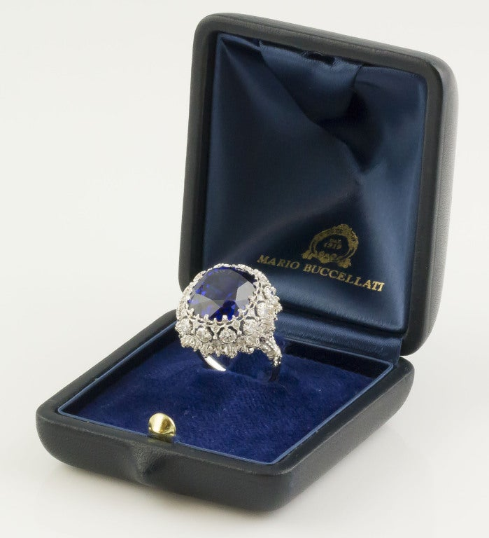 BUCCELLATI Tanzanite Diamond Gold Cocktail Ring 10