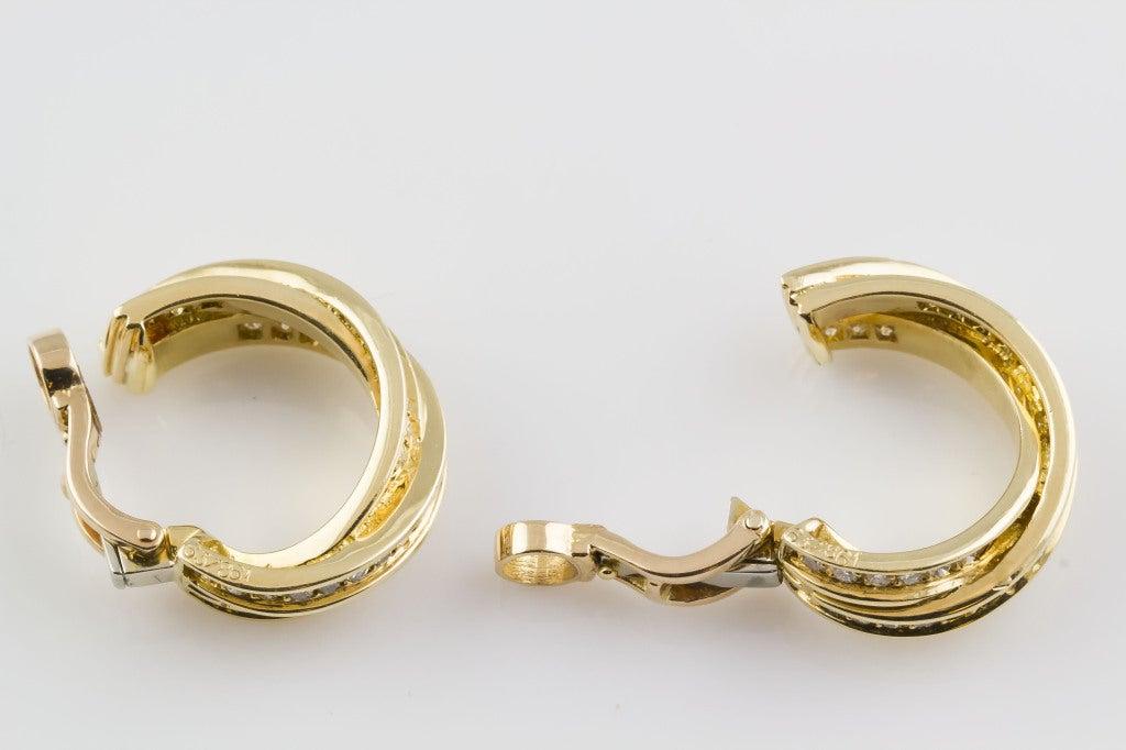 Cartier Trinity Diamond Gold Hoop Earrings 2