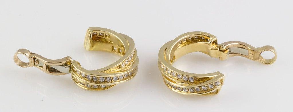 Cartier Trinity Diamond Gold Hoop Earrings 3
