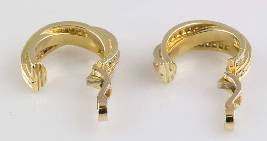 Cartier Trinity Diamond Gold Hoop Earrings 4