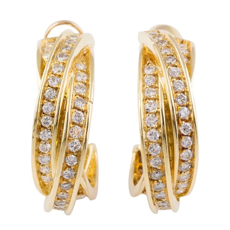 Cartier Trinity Diamond Gold Hoop Earrings 1