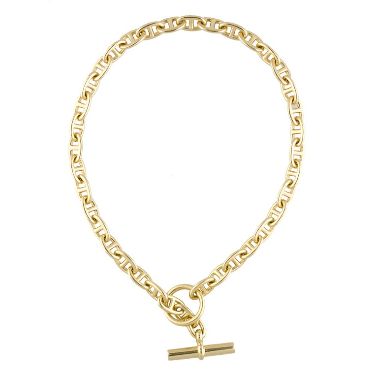 hermes gold chaine d anche toggle link necklace