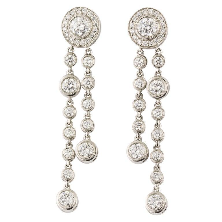 Tiffany And Co Circlet Diamond Platinum Drop Earrings At