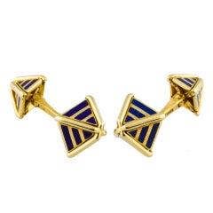 Tiffany & Co. Schlumberger Enamel Gold Pyramid Cufflinks