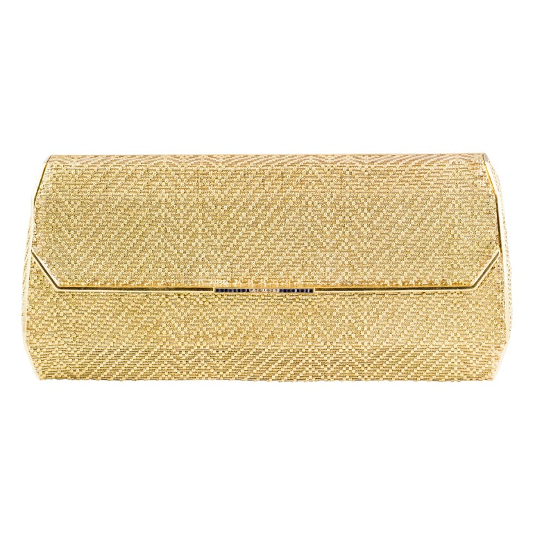 Cartier Sapphire Diamond Two-Tone Basket Woven Gold Clutch Purse