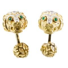 DAVID WEBB Diamond Emerald Platinum Gold Lion Head Cufflinks