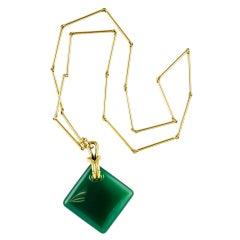 ALDO CIPULLO Chrysoprase Gold Pendant Necklace