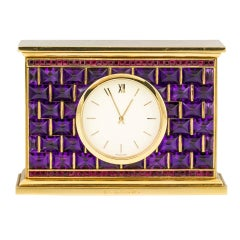 BULGARI Yellow Gold, Amethyst and Ruby Desk Clock