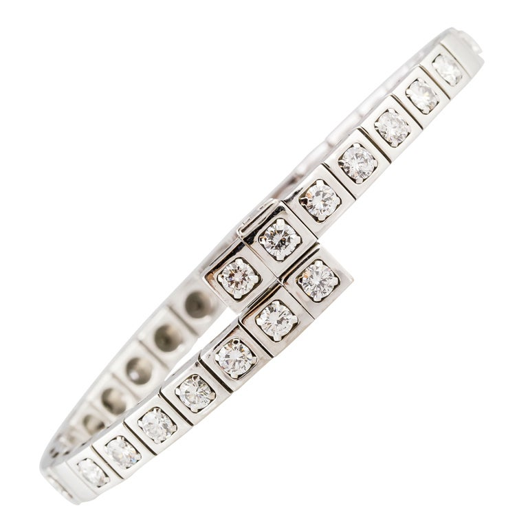 Cartier Diamond White Gold Bangle Bracelet At 1stdibs