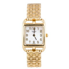 Hermes Lady's Yellow Gold Cape Cod Bracelet Watch