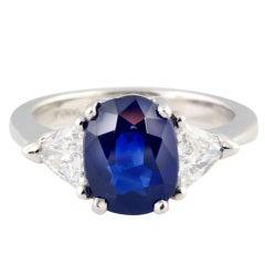 Natural 3.58 Carat Sapphire Diamond Platinum Ring