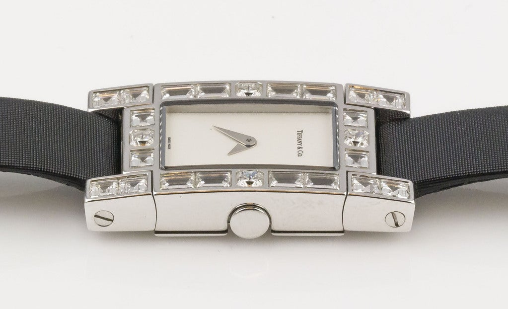 Tiffany & Co. Ladies White Gold Diamond Lucida Quartz Wristwatch In Excellent Condition For Sale In New York, NY