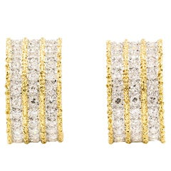 MARIO BUCCELLATI Diamond Gold Huggies Hoop Earrings