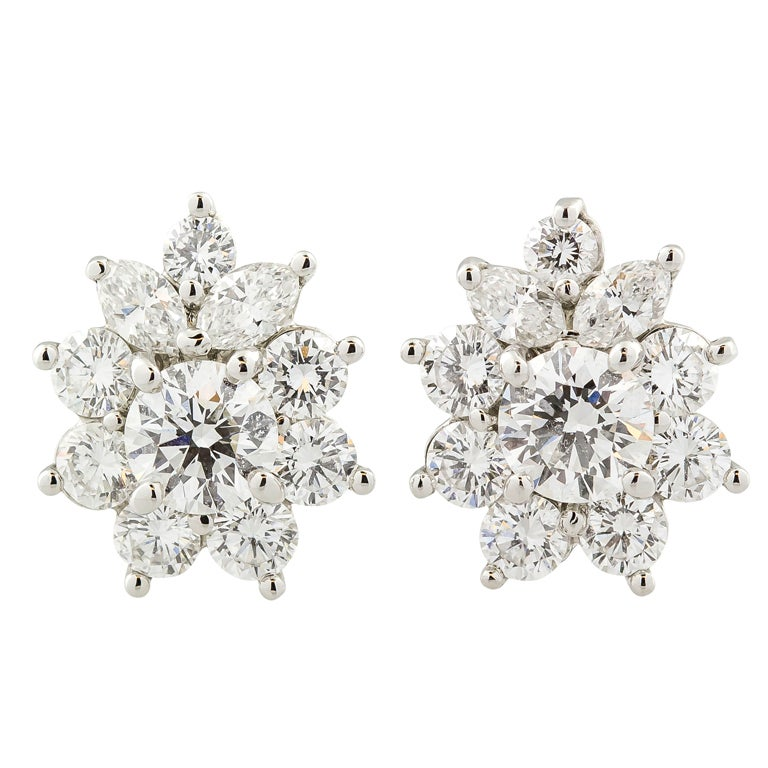 TIFFANY & CO. Victoria Diamond Platinum Cluster Earrings 1
