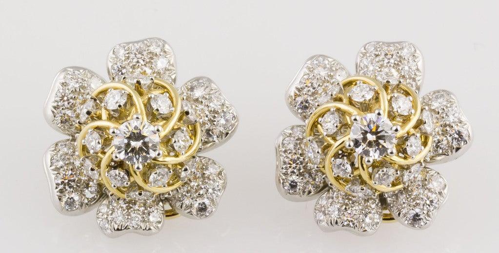 Tiffany & Co. Schulmberger Diamond Gold Platinum Flower Earrings 2