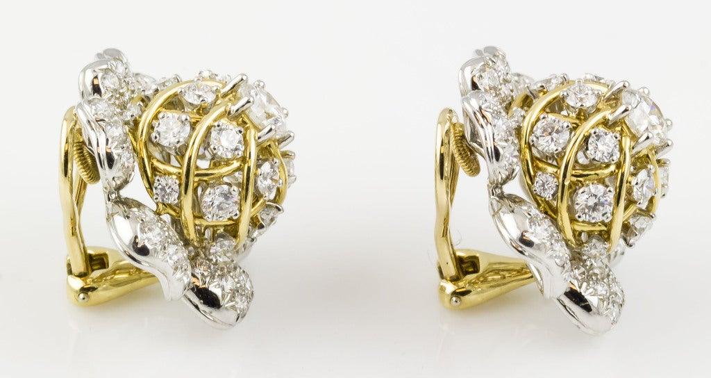 Tiffany & Co. Schulmberger Diamond Gold Platinum Flower Earrings 3