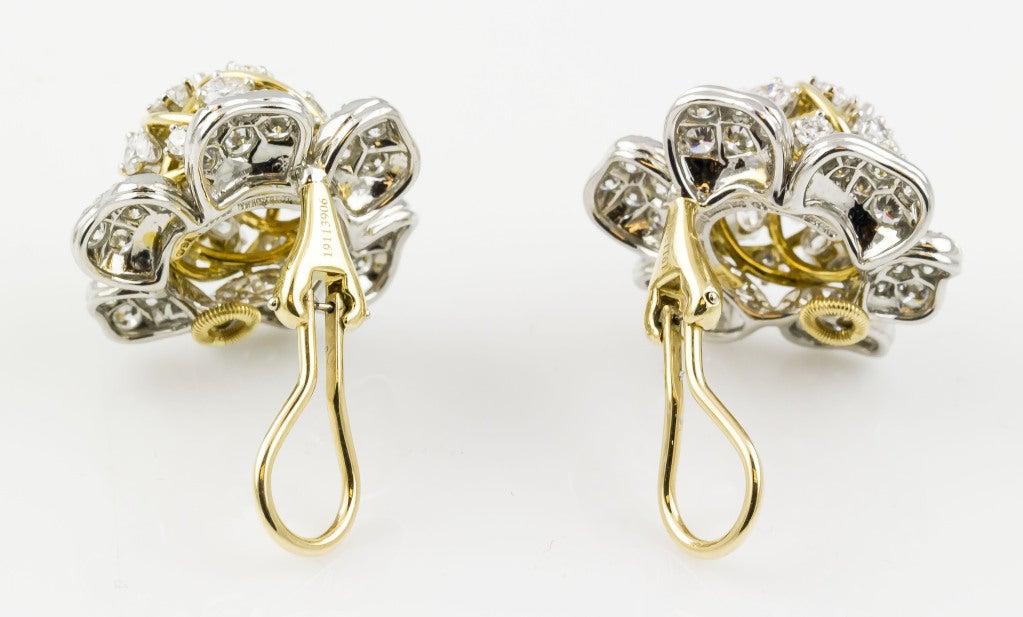 Tiffany & Co. Schulmberger Diamond Gold Platinum Flower Earrings 5