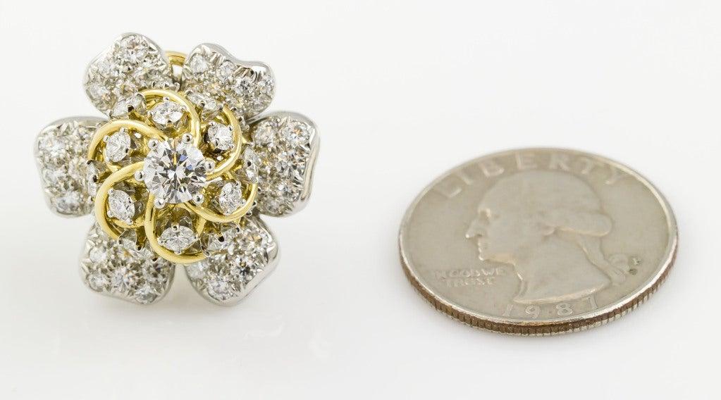 Tiffany & Co. Schulmberger Diamond Gold Platinum Flower Earrings 7