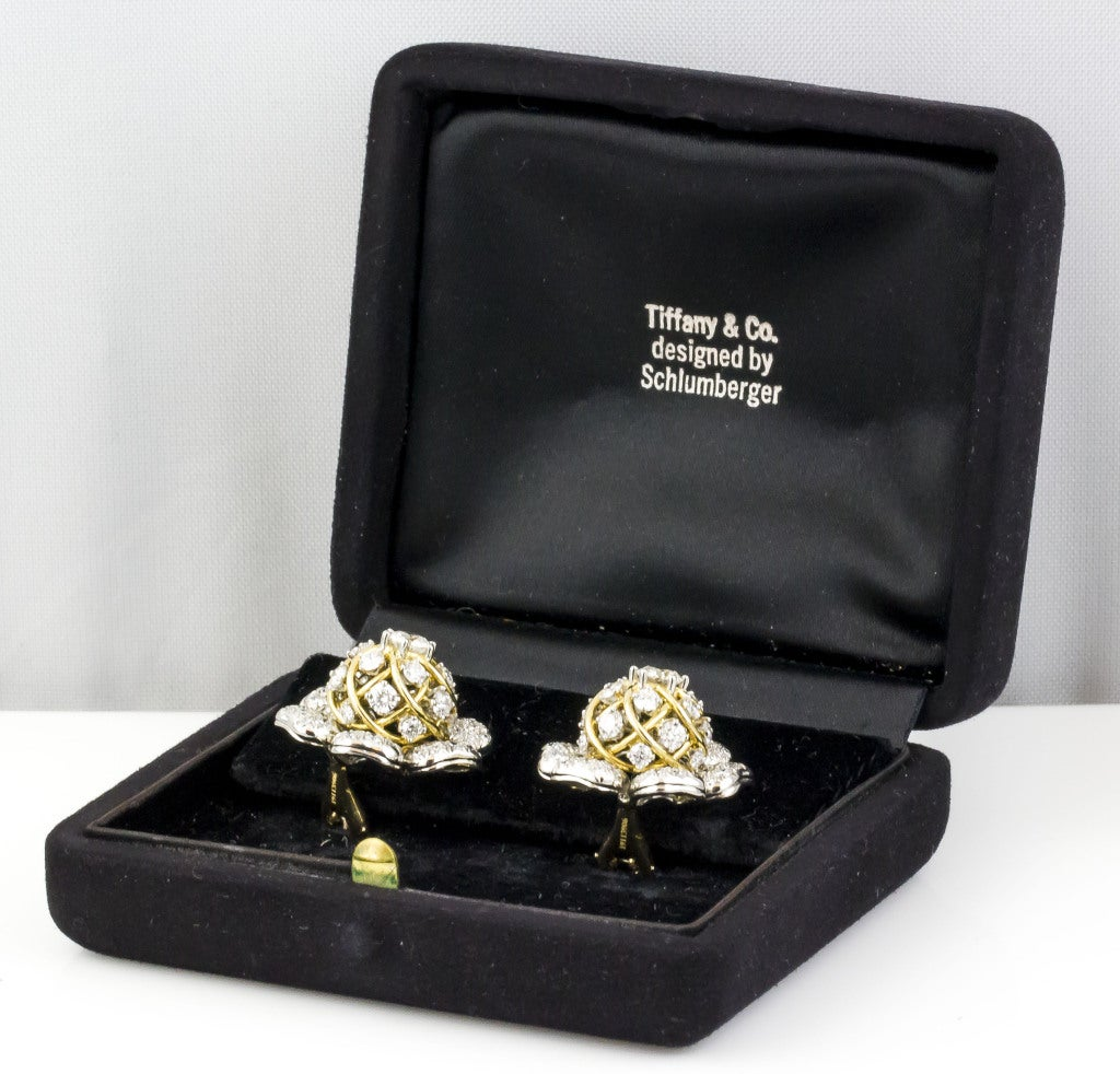 Tiffany & Co. Schulmberger Diamond Gold Platinum Flower Earrings For Sale 3