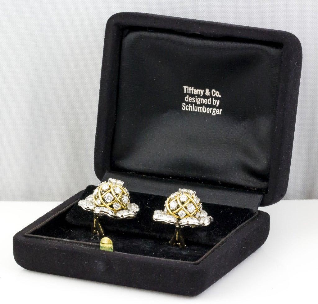Tiffany & Co. Schulmberger Diamond Gold Platinum Flower Earrings 8
