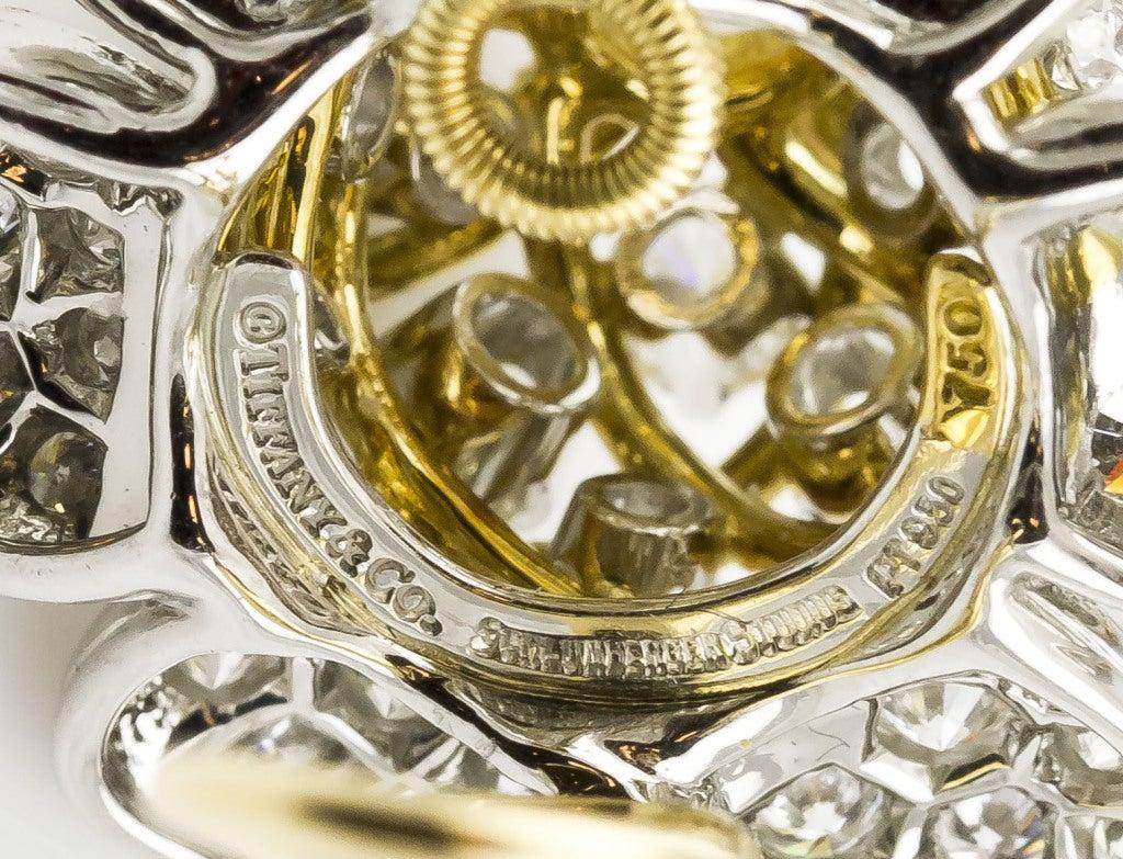 Tiffany & Co. Schulmberger Diamond Gold Platinum Flower Earrings 9