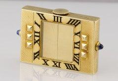 CARTIER Art Deco Gold Sapphire Shutter Traveling Clock