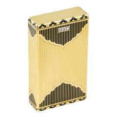 MARSHAK Art Deco Diamond Gold Enamel Two Section Box