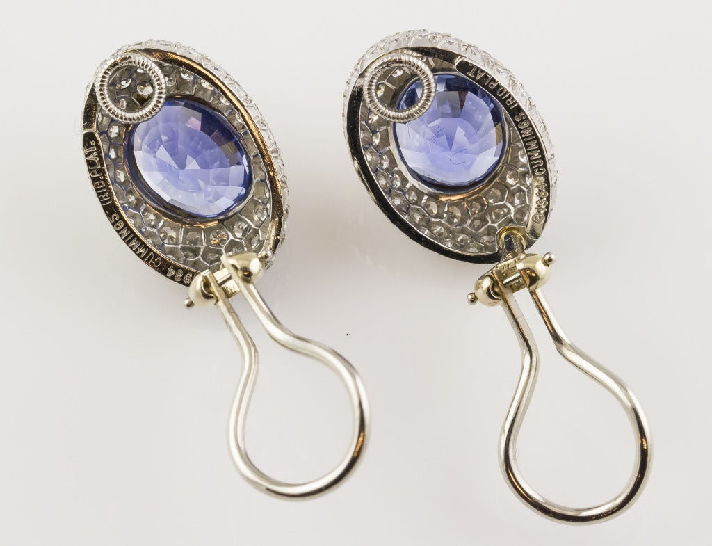 Angela Cummings Ceylon Sapphire Diamond Gold Platinum Earrings In Excellent Condition For Sale In New York, NY