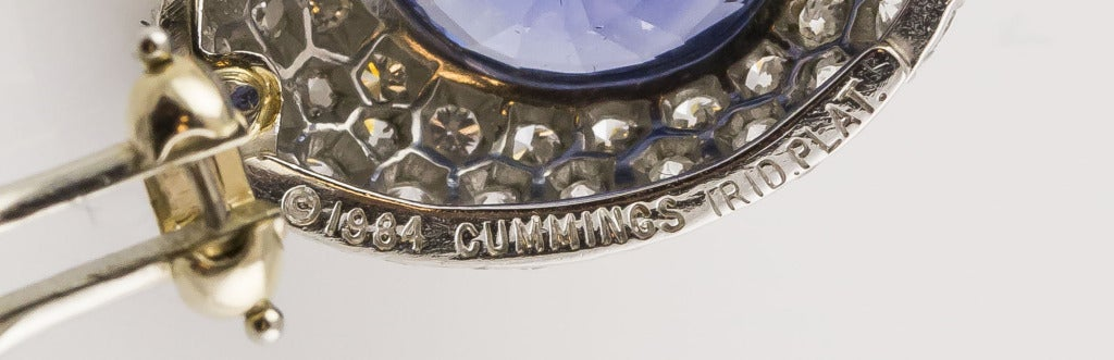 Angela Cummings Ceylon Sapphire Diamond Gold Platinum Earrings In Good Condition For Sale In New York, NY