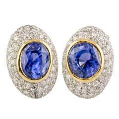 Angela Cummings Ceylon Sapphire Diamond Gold Platinum Earrings