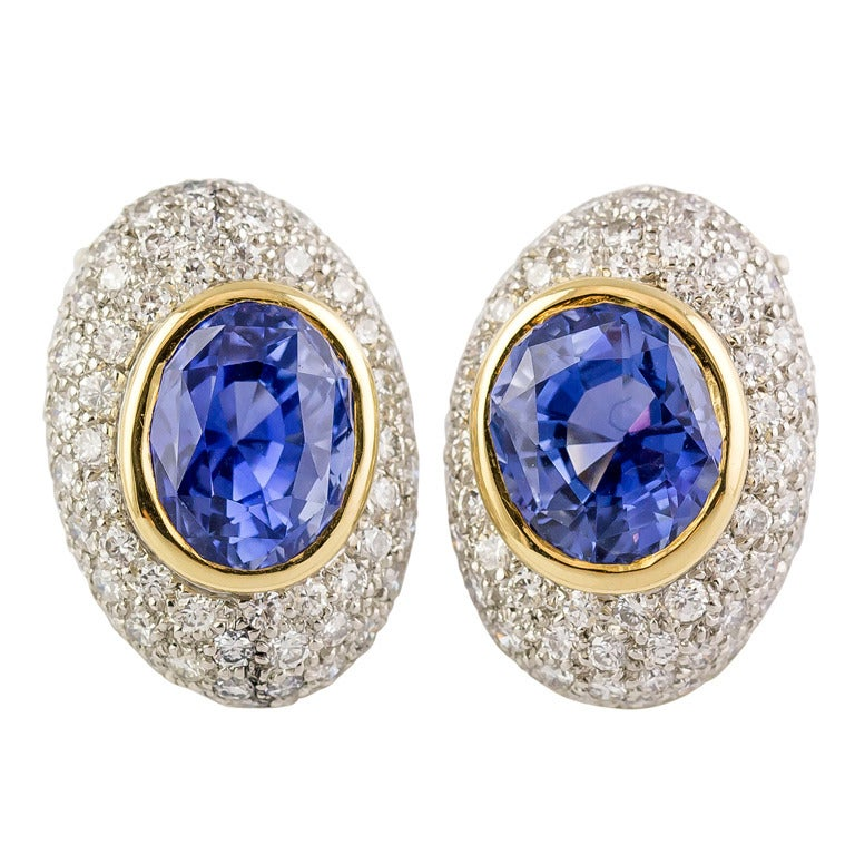Angela Cummings Ceylon Sapphire Diamond Gold Platinum Earrings For Sale