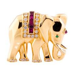 CARTIER Ruby Diamond Emerald & Gold Elephant Brooch