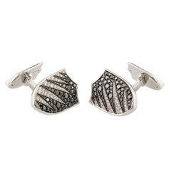 Garrard Black and White Diamond White Gold Shield Cufflinks