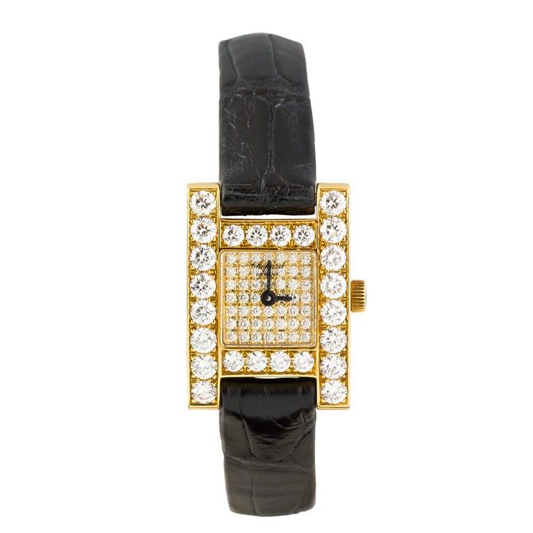 "Chopard Ladies Yellow Gold Diamond ""H"" Quartz Wristwatch"