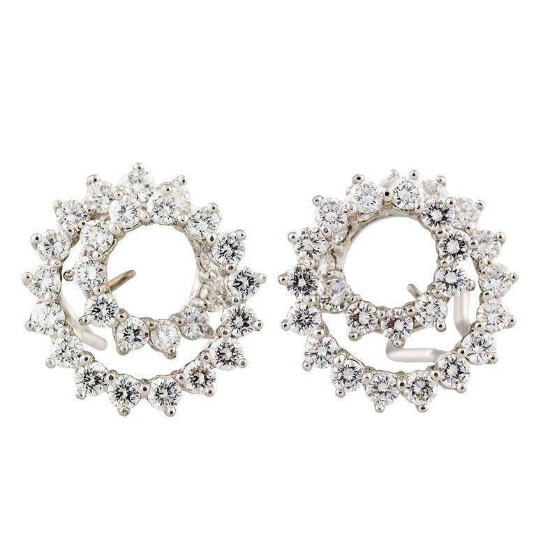 Tiffany & Co. Diamond Platinum Swirl Earrings