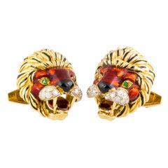 FRASCAROLO Diamond Enamel and Gold Lion Cufflinks
