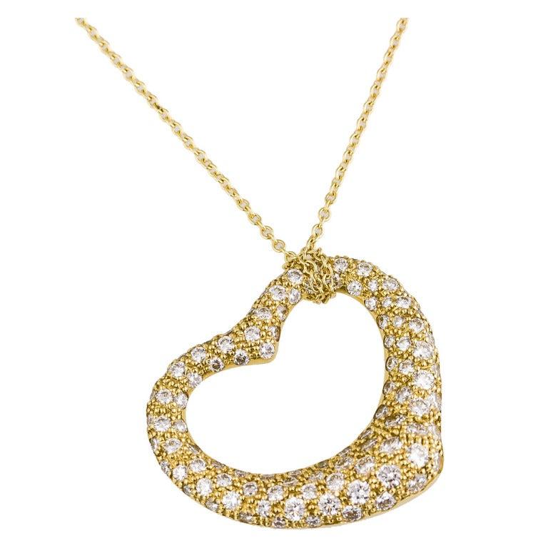 Tiffany and co peretti diamond gold open heart pendant necklace tiffany co peretti diamond gold open heart pendant necklace 1 aloadofball Image collections