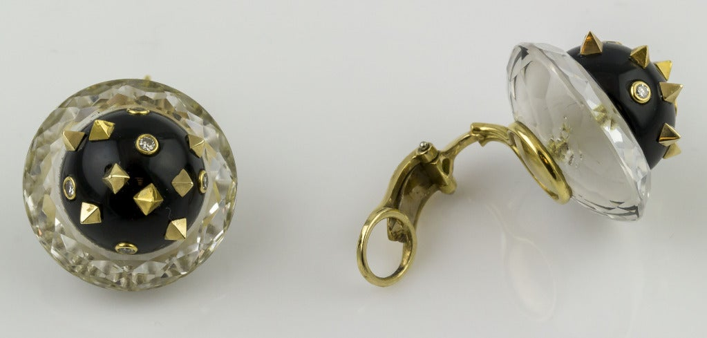 Angela Kramer Rock Crystal Enamel Diamond Gold Earrings In Excellent Condition For Sale In New York, NY