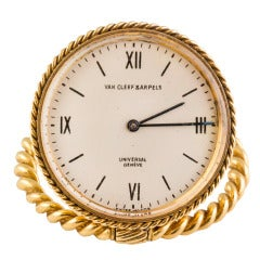 Van Cleef & Arpels Yellow Gold Travel Clock Movement by Universal