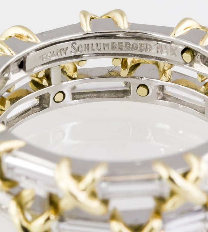 Contemporary TIFFANY & CO. SCHLUMBERGER Diamond Platinum & Gold Double Band For Sale