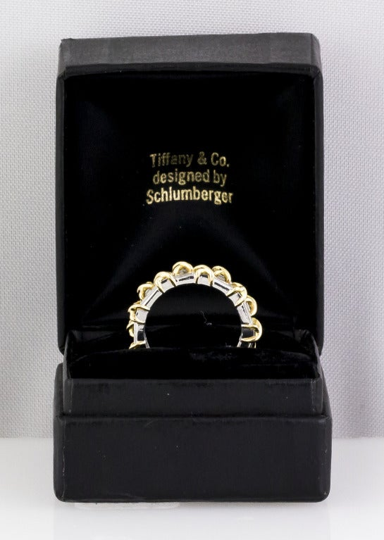 TIFFANY & CO. SCHLUMBERGER Diamond Platinum & Gold Double Band In Excellent Condition For Sale In New York, NY